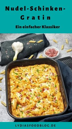 Nudel-Schinken-Gratin This pasta and ham gratin with cream sauce is a quick and easy lunch or dinner Salmon Recipes, Lunch Recipes, Meat Recipes, Easy Dinner Recipes, Easy Meals, Dinner Ideas, Dessert Recipes, Casserole Recipes, Cooking