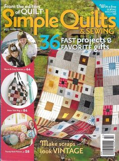 Simple Quilts and Sewing magazine Vintage scrap project Winter scarves Pillows