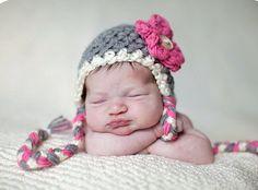 Pink Gray White Earflap Flower Beanie Hat