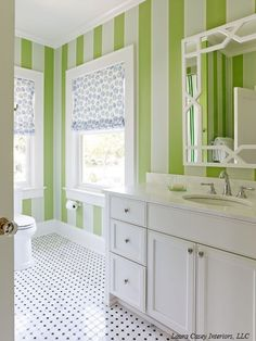 The green strips represent the wood element, ideal if your bathroom is in the wealth area of the bagua..