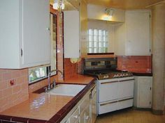 Colorful Kitchen Tile countertop, typical of 1940s and 1950s homes in California.