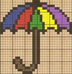Miniature umbrella pattern / chart for cross stitch, crochet, knitting, knotting, beading, weaving, pixel art, micro macrame, and other crafting projects.