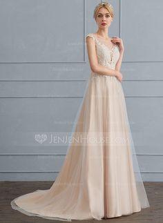 [AU$ 214.69] A-Line/Princess Scoop Neck Sweep Train Tulle Wedding Dress