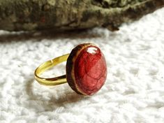 Wooden cherry ring natural wood ring unique gift wood
