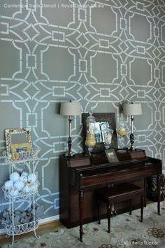 Elegant and Modern Wall Decor - DIY Wallpaper Wall Stencils Contempo Trellis - Royal Design Studio