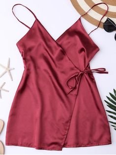 Cami Wrap Slip Dress - WINE RED Sexy wrap tie waist slip dress was cut in mini length,with spaghetti straps collarline,lightweight,ideal sleepwear. Material: Polyester Pattern Type: Solid Weight: Package: 1 x Dress Cami Dress Outfit, Dress Outfits, Fashion Outfits, Fashion Site, Dress Fashion, Lace Dress, Wrap Dress, Lingerie Outfits, Sexy Lingerie