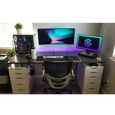 21 Best DIY Computer Desk Ideas for Home Office Inspiration Gaming Computer, Custom Computer Desk, Simple Computer Desk, Computer Desk Setup, Gaming Room Setup, Pc Setup, Computer Technology, Computer Rooms, Custom Desk