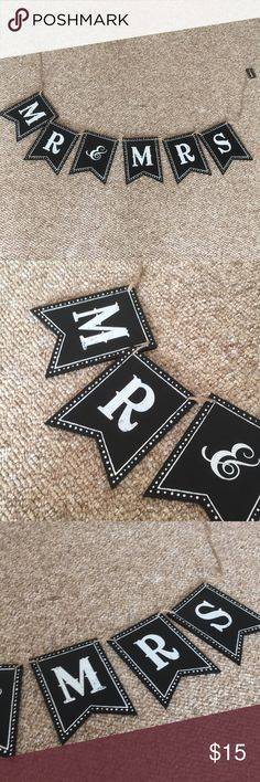 Mr and Mrs Black Wooden Banner Adorable banner perfect for a wedding. Brand new with tags. Some corners have markings but barely noticeable. Please see images. Creative Co-Op Party Supplies Decorations Plus Fashion, Fashion Tips, Fashion Design, Fashion Trends, Creative Co Op, See Images, Party Supplies, Banner, Decorations
