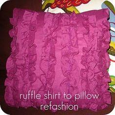 Ruffle pillow - Shirt to pillow refashion
