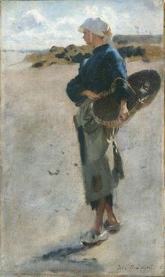 John Singer Sargent - Breton Girl with a Basket, a Sketch (1877)
