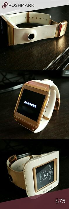Samsung Galaxy Gear Rose Gold Rose gold Samsung Galaxy Gear!  Includes charger port but needs the cord to connect to wall.  The gear can do everything from serve as a pedometer, snap and store pictures, read text messages and take calls!  Rose gold is super cute and feminine.  Any questions let me know!! samsung Accessories Watches