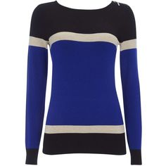 Blue Colour Block Striped Jumper ($47) ❤ liked on Polyvore featuring tops, sweaters, blue, block sweater, blue striped sweater, blue top, fitted sweater and striped crew neck sweater