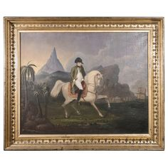 Early 19th Century Oil on Canvas Depicting Napoleon Bonaparte on Horseback | From a unique collection of antique and modern paintings at https://www.1stdibs.com/furniture/wall-decorations/paintings/