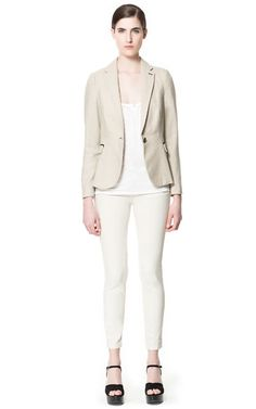Image 1 of MOLESKIN BLAZER WITH ELBOW PATCHES AND PIPING from Zara