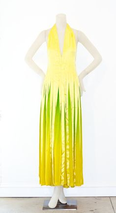Extraordinary 1970's yellow to green ombre silk ribbon and chiffon gown, Roberto Capucci.