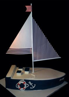 Sailing boat cake . Nautical Cake, Nautical Party, Pirate Boat Cake, Don Fisher, Beach Cakes, 60th Birthday Party, Crazy Cakes, Disney Cakes, Creative Cakes