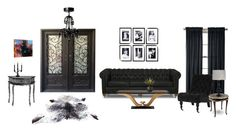 """""""Mostly Black Contest"""" by janet-palaggi ❤ liked on Polyvore featuring interior, interiors, interior design, home, home decor, interior decorating, Eichholtz, Royal Velvet, Joybird Furniture and CB2"""