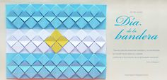 Argentina's flag from mas origami . Origami Quilt, Origami And Kirigami, Argentina Flag, Paper Crafts, Diy Crafts, Ideas Para Fiestas, Pop Up Cards, Collage, Teaching