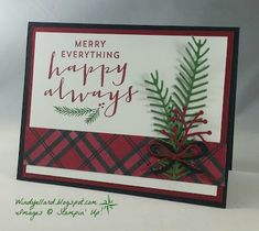Windy's Wonderful Creations: PPA320 Merry Everything With Plaid!, Stampin' Up!, Suite Seasons, Pretty Pines thinlits dies, Warmth & Cheer DSP