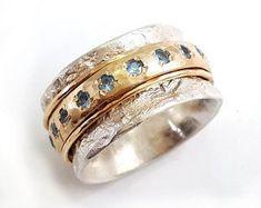 Real jewelry for real people: handmade & by IlanAmirJewelry Meditation Rings, Spinner Rings, Aquamarine Rings, Sterling Silver Hoops, Wedding Rings, Engagement Rings, Gemstones, Gems Jewelry, Jewelry Ideas