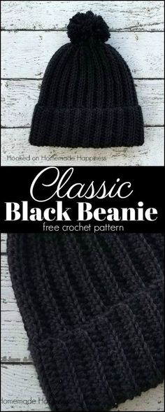 Free black beanie crochet pattern at Hooked On Homemade Happiness.