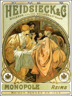 ❤ - Alphonse Mucha | Heidsieck and Co. - 1901.