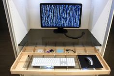 Ikea Pax wardrobe as home office. Komplement glass shelf and drawer. Basement Home Office, Home Office Closet, Home Office Decor, Closet Desk, Office Ideas, Office Nook, Desk Office, Diy Computer Desk, Computer Tables