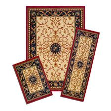 Capri 3 Piece Wrought Iron Medallion Tan / Black Area Rug Set