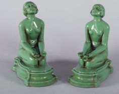Art-Deco-Nude-Figural-1930s-Antique-Pin-Up-Girl-Bookends-Greenie-Girls-Rare-NR
