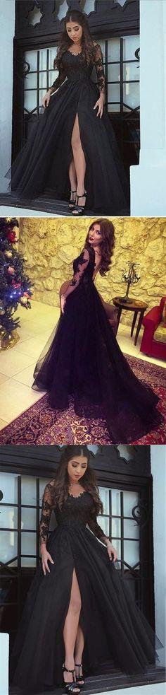 Long-Sleeve Black Slit Glamorous Lace Evening Dress long prom dresses M1502#prom #promdress #promdresses #longpromdress #promgowns #promgown #2018style #newfashion #newstyles #2018newprom #eveninggown  #aline #longsleeve #black #lace #slit #sexy