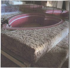 Combination of different textures, the soft carpeting and cold tiles