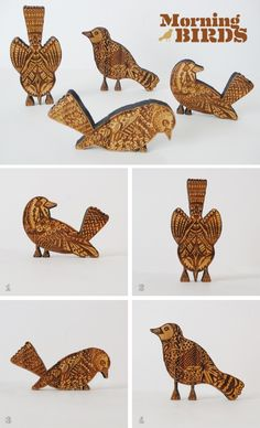 "$30 each or $120 for the set at Option-G    Laser engraved and cut sustainable bamboo bird figure set.   also sold separately (each piece will vary due to grain, color and heat from laser engraving)  one sided and hand signed on the back by cole gerst  1. 4x3"" 2. 2x5"" 3. 5x2"" 4. 5.5x4"""