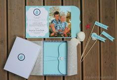 Christening invites (individually boxed) and cupcake toppers (used as place-cards).