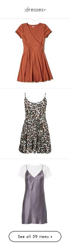 """"""";dresses+"""" by ameyzinha ❤ liked on Polyvore featuring dresses, vestidos, orange, v-neck dresses, orange skater dress, fit flare dress, knit dress, orange dress, leopard and party dresses"""