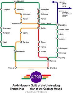A subway map of Ankh-Morpork