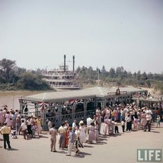Disneyland 1955, Mark Twain dock on opening day, from the Life Magazine archive. Color corrected by United Style