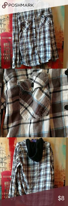 Tony Hawk Hooded Flannel A blue, white, black, and gray Tony Hawk Flannel in a male size large, with draw strings for the hood Tony Hawk Shirts Casual Button Down Shirts