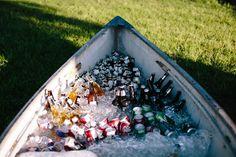 outdoor wedding canoe cooler
