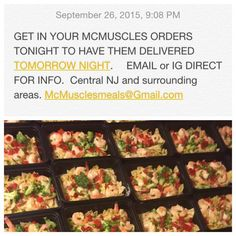 Get in your orders ASAP for tomorrow nights drop offs. CENTRAL NJ and surrounding areas. Meals as low as $6.  IF YOUR ANOTHER MEAL PREP BUSINESS GET YOUR OWN DAMN ORIGINALITY AND STOP COPYING OUR SHIT. BUT THANKS WE ARE FLATTERED.  #mealprep #mealplan #mealforameal #mealreplacement #mealprepping #mealprepmondays #mealprepmonday #mealprepsunday #mealprepmondays #mealprepservice #shredded_academy #theperfectphysique #eatclean #eatcleantraindirty #eatforabs #olympia2015 #olympia #olympiaweekend…