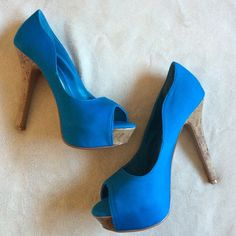 NWT! Blue peep toe pumps Brand new comes with box Qupid Shoes Heels