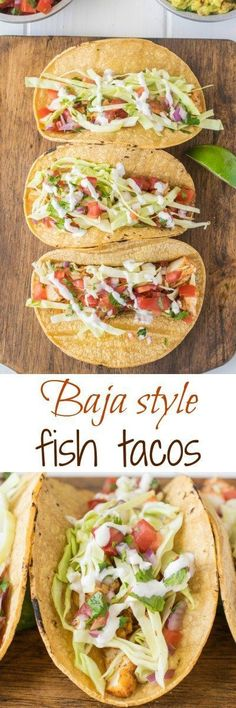 Baja style fish tacos. Mexican spiced halibut pieces are sautéed, then nestled in corn tortillas with fresh shredded cabbage and homemade pico de gallo with lime crema The Ultimate Pinterest Party, Week 95