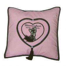 Pink Cushion With Black Cat - Glamourpuss