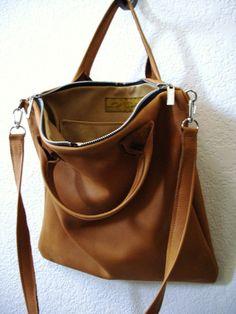Salted Caramel Leather Urban Tote Bag - Laurel Dasso on Etsy, £95.13