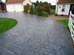 Concrete Driveway Dublin, Trusted Driveway, Contractors specialising in Pattern Imprinted Concrete. Suitable for driveways, paths and patios our durable concrete. Block Paving Driveway, Stone Driveway, Driveway Design, Driveway Landscaping, Driveway Ideas, Landscaping Design, Imprinted Concrete Driveway, Concrete Driveways, Gardens