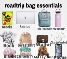 Travel Packing Checklist, Road Trip Packing List, Road Trip Hacks, Packing Tips, Road Trips, Travel Bag Essentials, Road Trip Essentials, Travel Bags, Airplane Essentials
