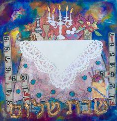 SHABBAT SHALOM Welcome to my Home Original Judaic Mixed Media