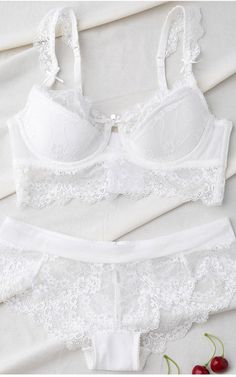 Bowknot Lace Spliced Scalloped Bra Set from Gamiss via @bestchicfashion