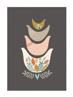 Paper Moon` Prent A5 Stacked Birds` | Alle posters | Petite Louise
