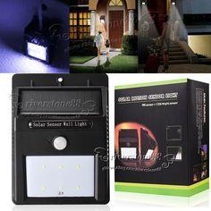 Solar Power PIR Motion Sensor Wall Light Waterproof Outdoor Garden Lamp with6LED #Unbranded