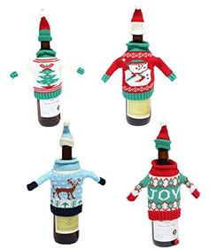 AiDeer Christmas Santa Claus Wine Bottle Cover Red Wine Bags Gift Bags Set Party Hotel Kitchen Table Decor 2 pcs ** Continue to the product at the image link.